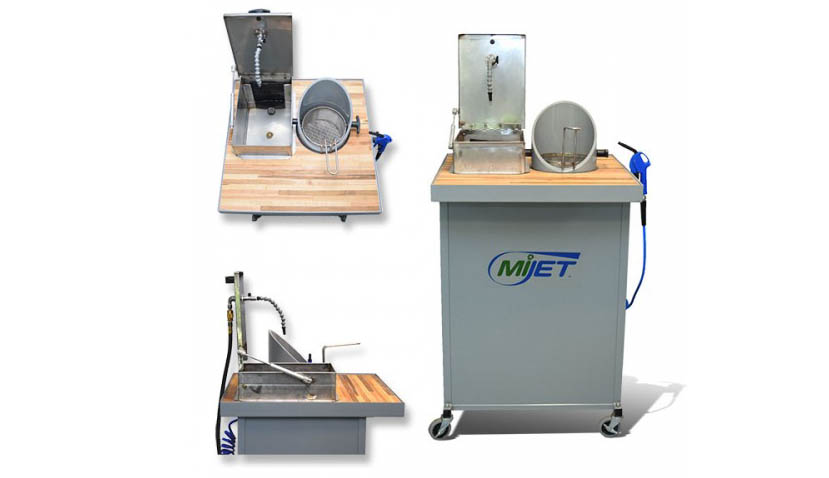 8 inch Diameter MiJET Wash Stations with Stainless Steel Dip Container